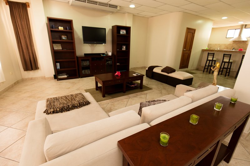 Our specious living room is very impressive. Very comfortable sofa and siting areas. Flat screen TV.