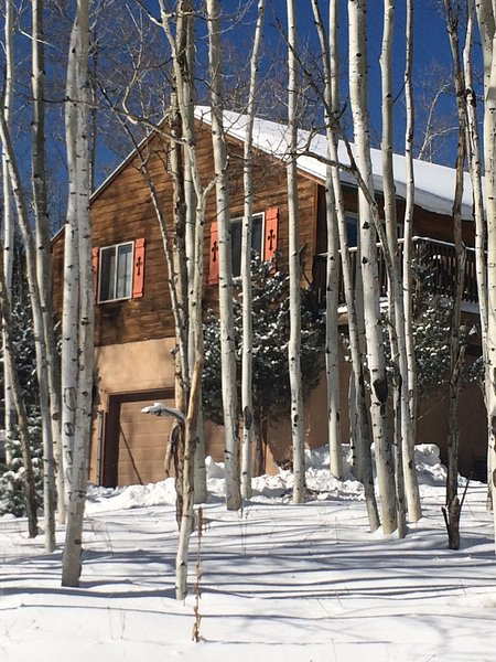 Surrounded in Aspens & Evergreens, backing up to a greenbelt & across from golf course- great house
