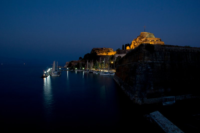 Old Fortress in Corfu town, by night.