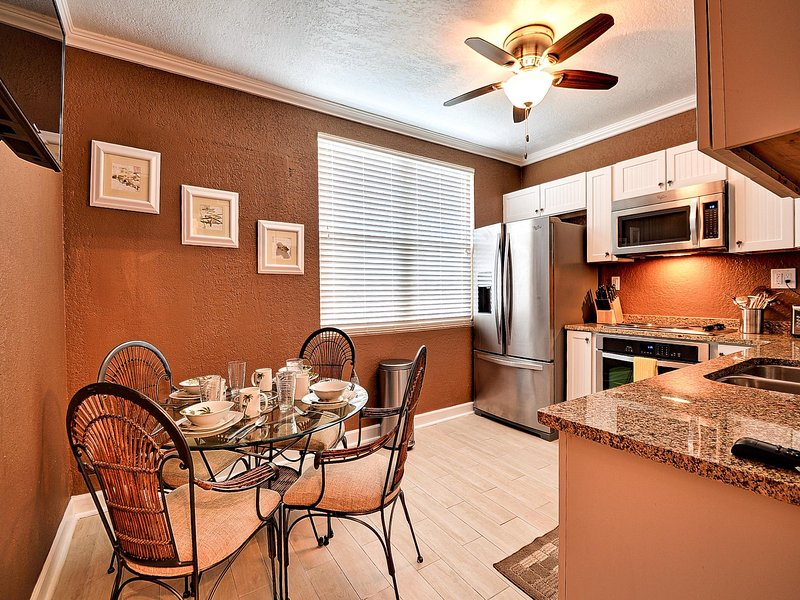 Full kitchen makes this a home away from home.
