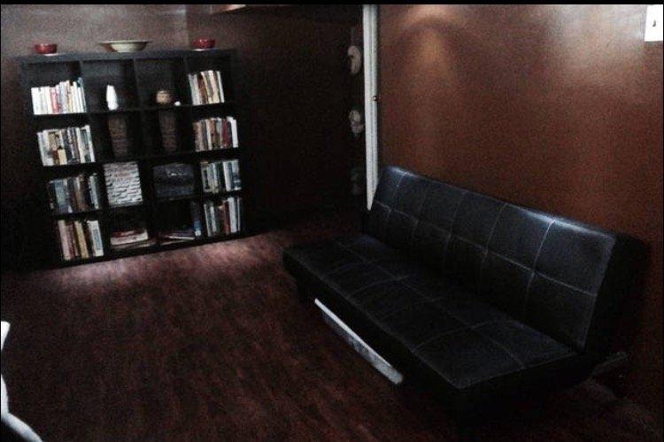 futón similar a la piel que está plano en una cama. Habitación es 24'L x x 8'W 7'H.