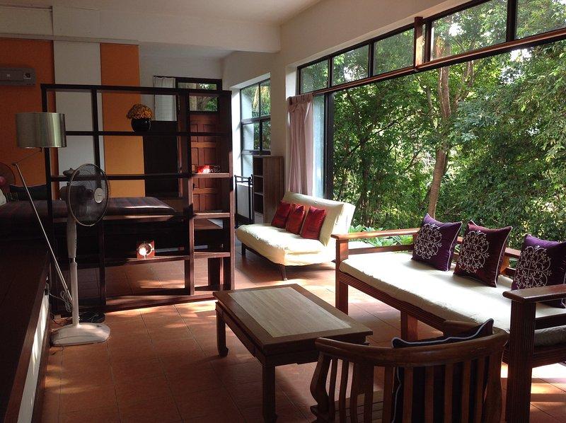 The spacious, open plan living area.