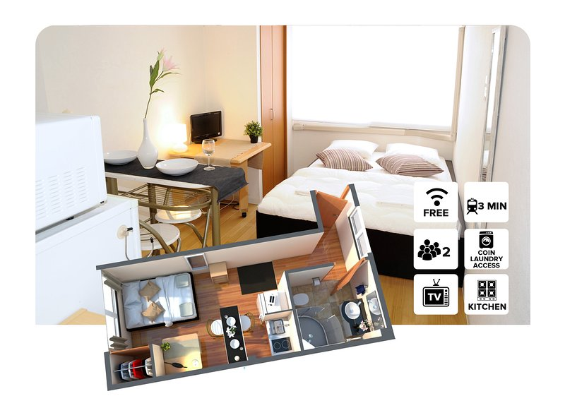 Studio apartment ! 3 Minutes walk from Tsutenkaku Station! #2A, holiday rental in Osaka Prefecture
