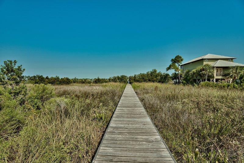 Wooden Boardwalk behind Pool Area leading to Little Lagoon