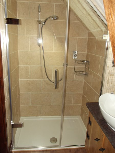 The shower enclosure is large with a power shower.