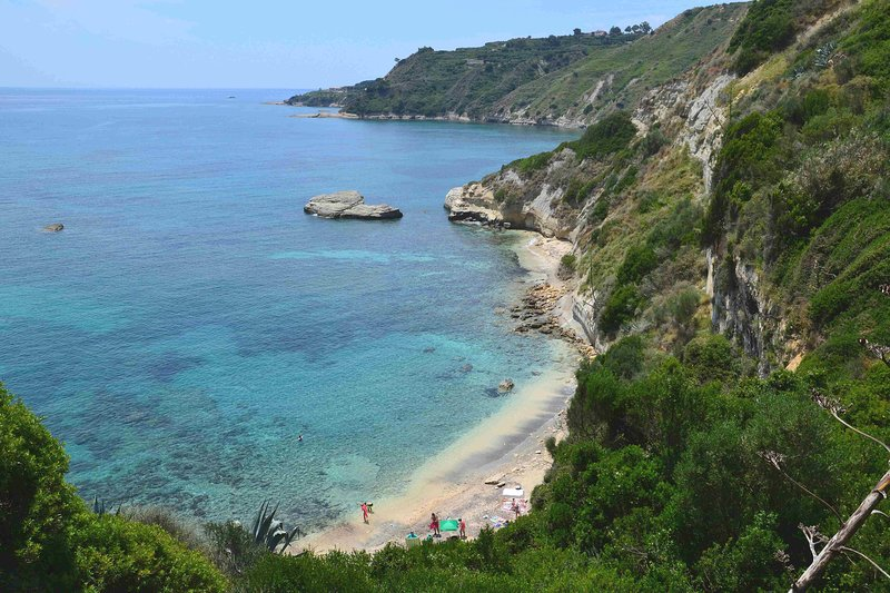 Kefalonia beaches:  wild Thermanti beach with crystal clear waters, 1,2 km from the villa.