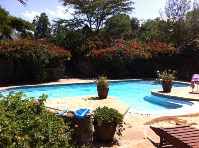 La piscina climatizada de 13 mtr con Cottage en el fondo