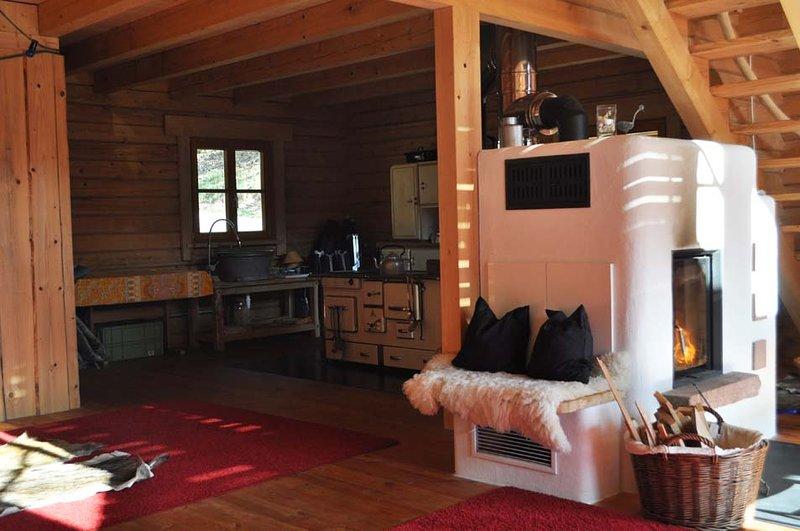 Poêle à bois dans la cabine - très confortable pour deux