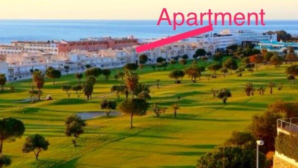View of apartment from golf course - there is only a hotel in between us and the sea/beach