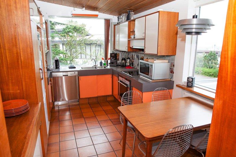 Cocina donde se puede cocinar. Ver con un balcón hacia el Monte Esja y el mar. Cafetera.