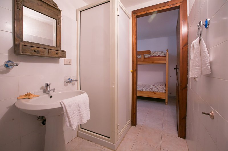 One of the two bathrooms with a shower