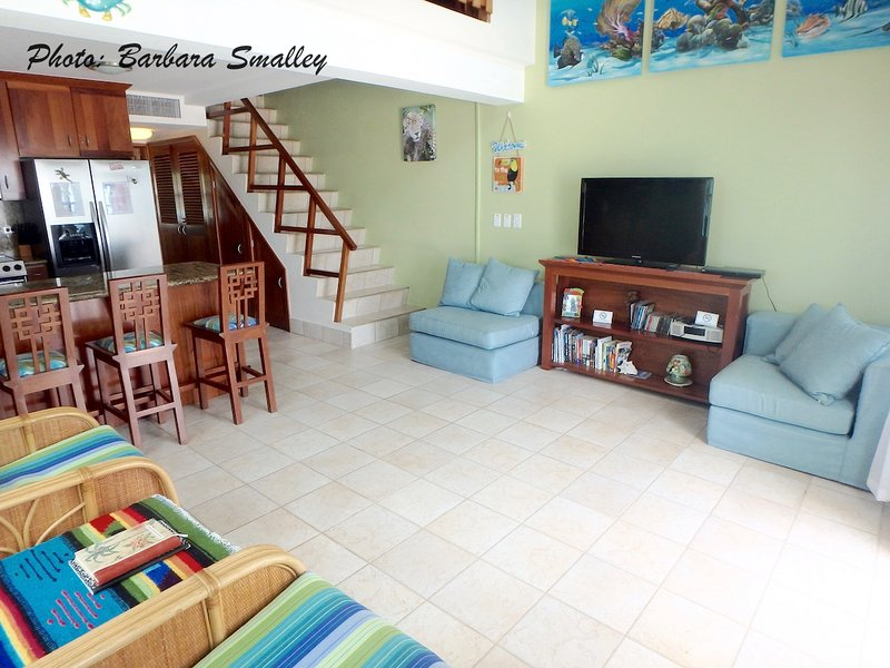Spacious living area is open to loft area above