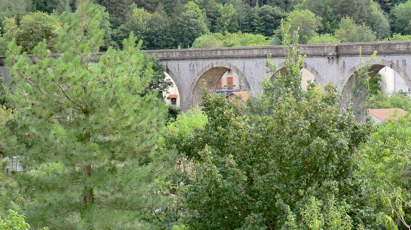 Looking over your garden from the balcony towards the viaduct and the forest behind it.