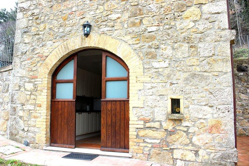 Stone building, kitchen/living room entrance