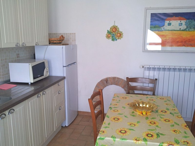 Kitchen/Living room, microwave oven and dining table