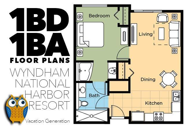 Planta y distribución de 1 dormitorio Wyndham National Harbor Condo