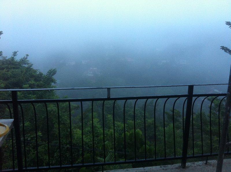 Vue du matin brumeux de la chambre