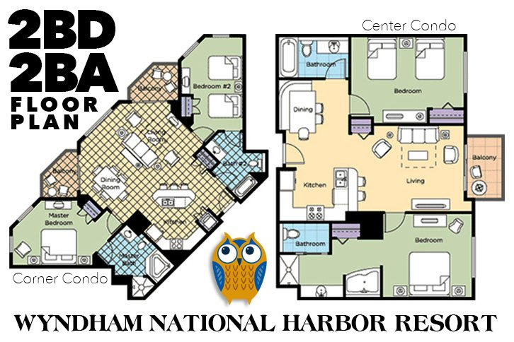 Floor plans + layouts for Centre Condos and Corner Condos at Wyndham National Harbor Resort near DC.