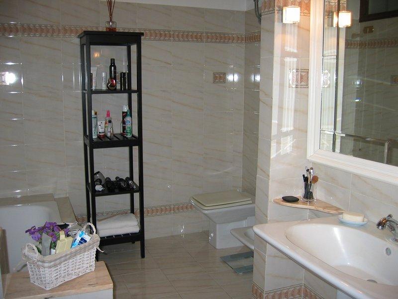 casa de banho principal tem grande banheira, bidé, secador de cabelo, ferro de ondulação, e misc. artigos diversos.