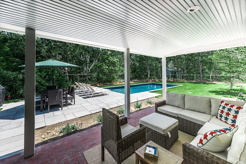 Shady Porch Seating Overlooking Pool & Patio, Porch Screened for Summer 2017