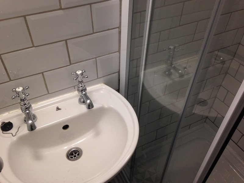Victorian style bathroom with modern features (heated towel rail, shaver socket, brand new shower.
