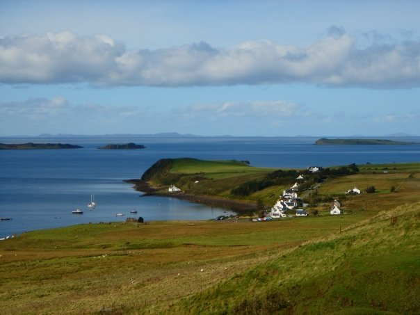 This is the wonderful location of Henderson House,in Stein village overlooking LochBay and the Isles