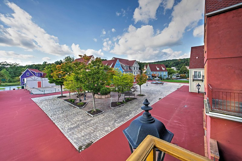 Nestled within the European, medieval-inspired Stoutberg Village, this home promises a uniquely relaxing vacation.