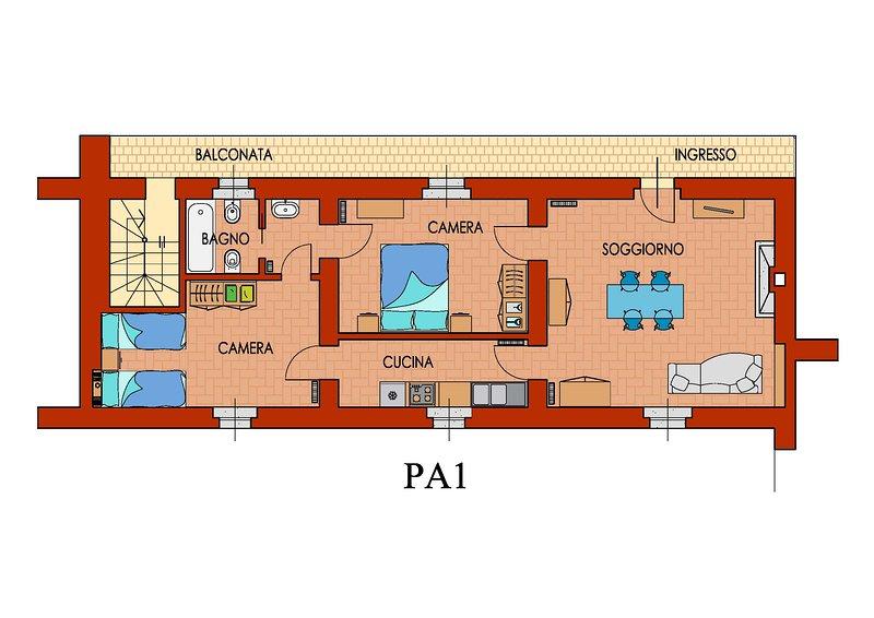 Plan de apartamento en el 1er piso