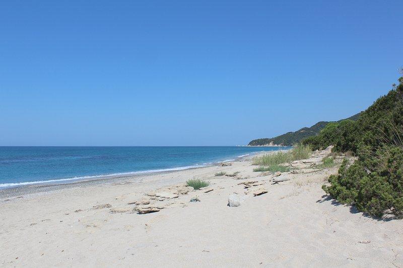 La preciosa playa de arena justo en frente de la casa