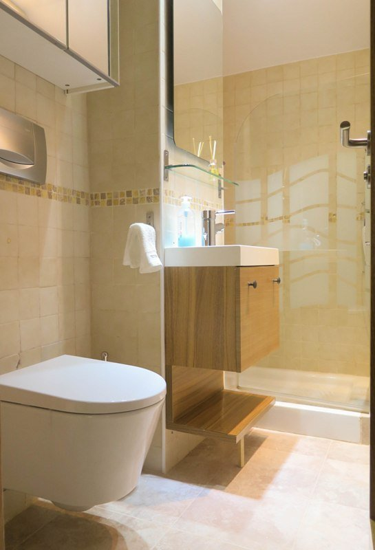 bathroom completely renovated with quality designs and elegance.