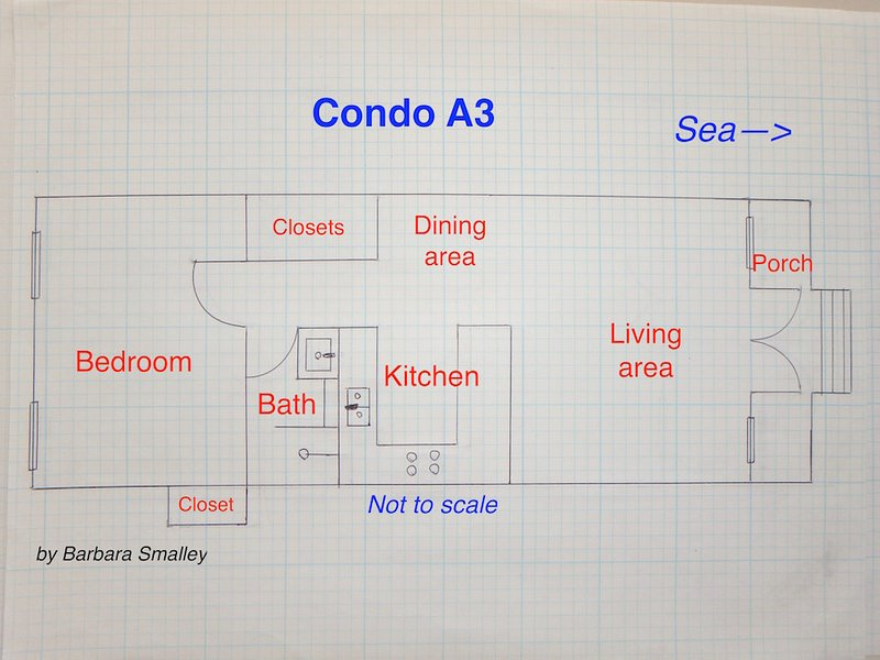 Condo floor plan (not to scale)