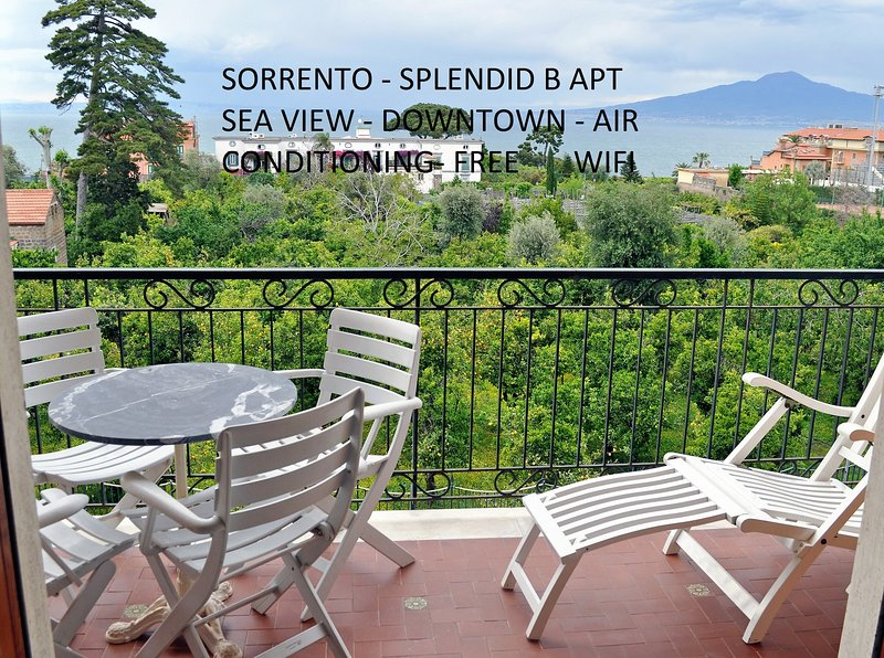 balcony of the living room with sea view and Mont Vesuvius