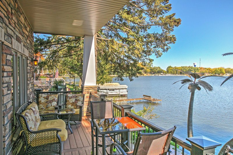 Enjoy stunning Black Hawk Lake views on the balconies and throughout the home.