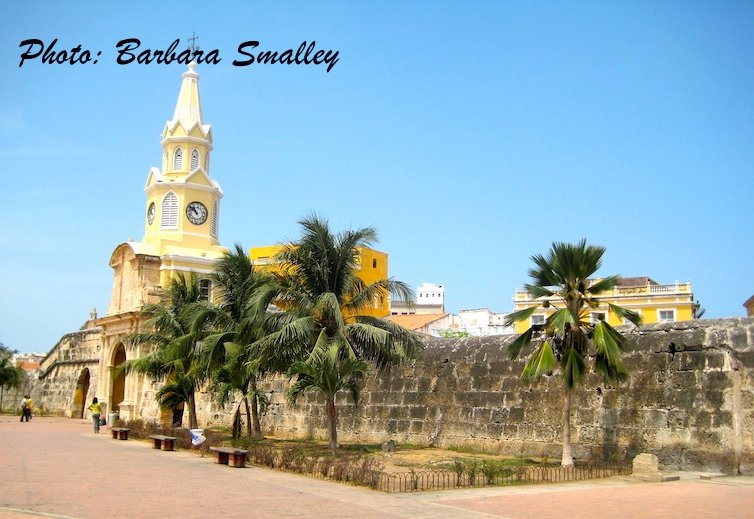 We are steps from Cartagena's iconic Clock Tower