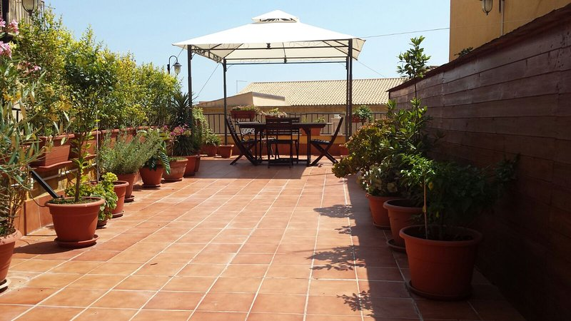 Large terrace overlooking the historic center of Agrigento
