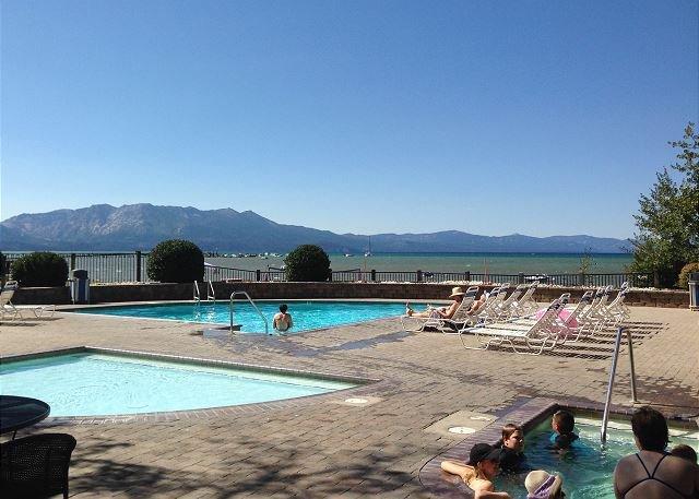Common area pool overlooking beautiful Lake Tahoe
