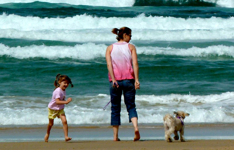 Diane is checking the surf on a windy day with her helpers.