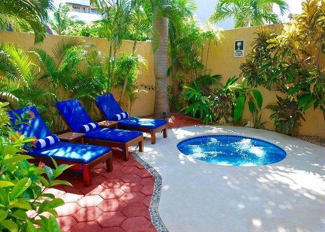 Hot tub & lounge area.