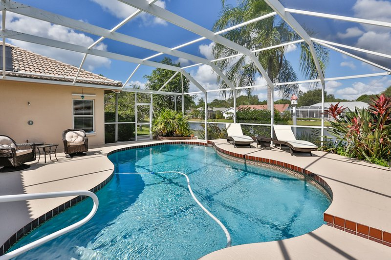 Salt water solar heated pool, ideal for staying cool.