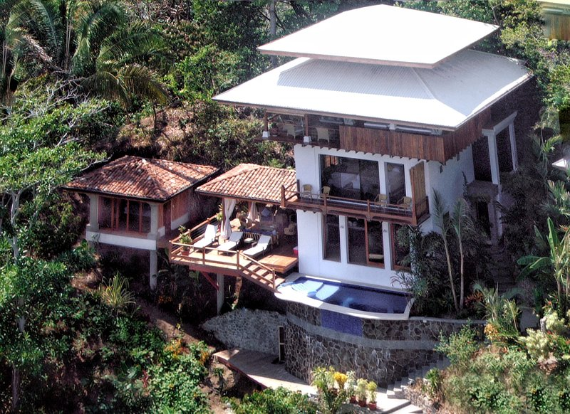 The 5-level villa built on a hillside overlooking the ocean.