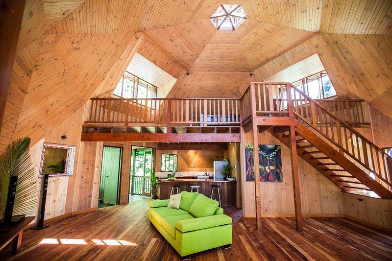Light Filled Yurt Design Interior, hand built from Pine, Cedar & Silky Oak