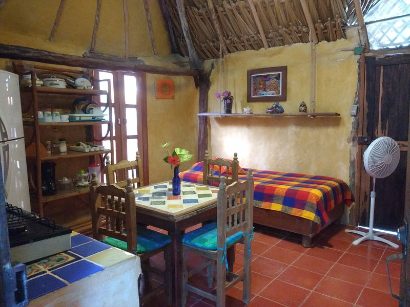 Casitas Kinsol Room #8 - An authentic Mayan hut with a thatched roof and a kitchenette