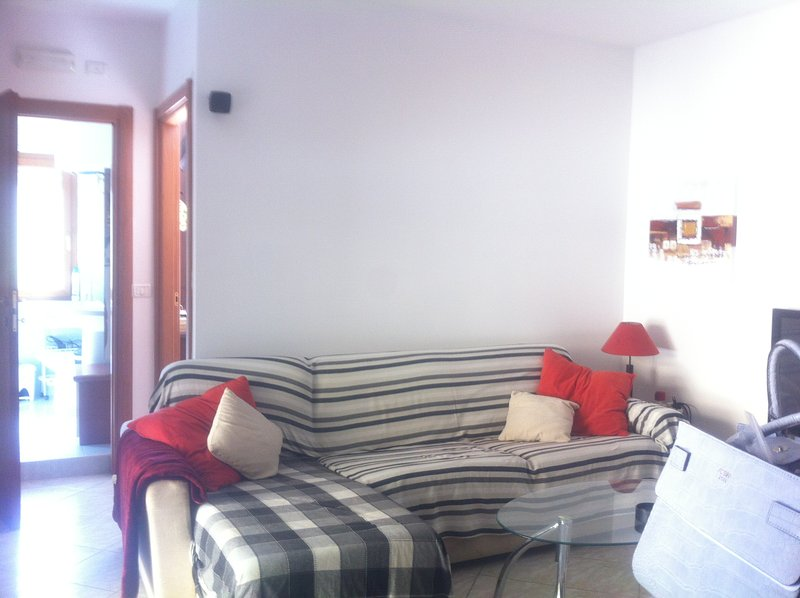 Beautiful bright sunny living area, with sofa bed. and flat screen tv