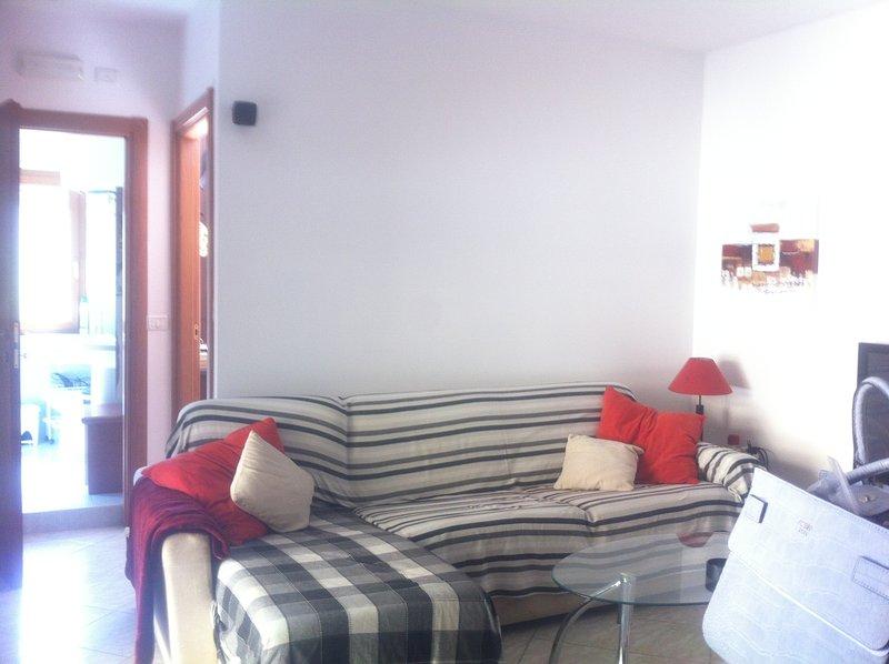 hermosa zona de sol brillante salón, con sofá cama. y televisión de pantalla plana