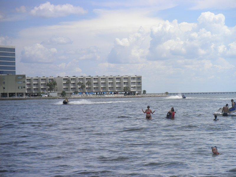 Onze Tampa Bay Waterfront Condo (op de achtergrond) en zwemmen in het nabijgelegen openbare strand.
