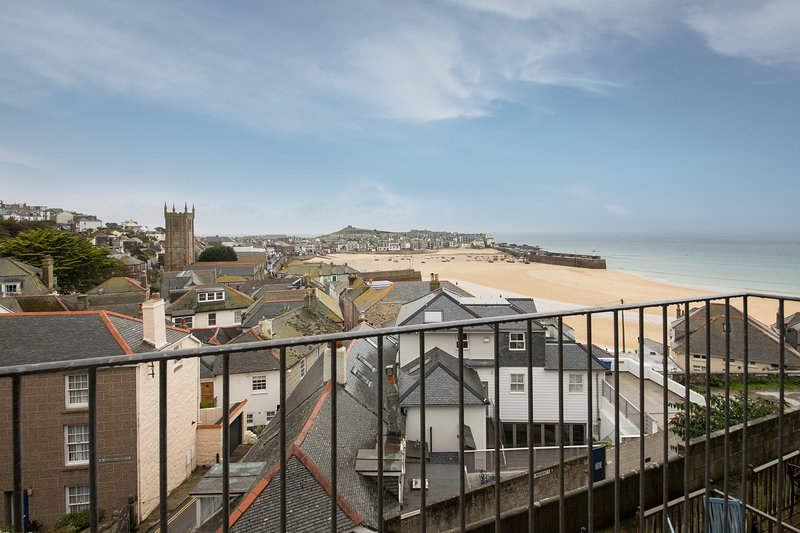 Beautiful view from inside the apartment over St Ives Harbour and Town.