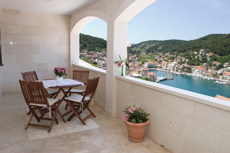 Terraço, móveis de exterior, terraço com vista, apartamentos Pucisca, Pucisca, Brac Island