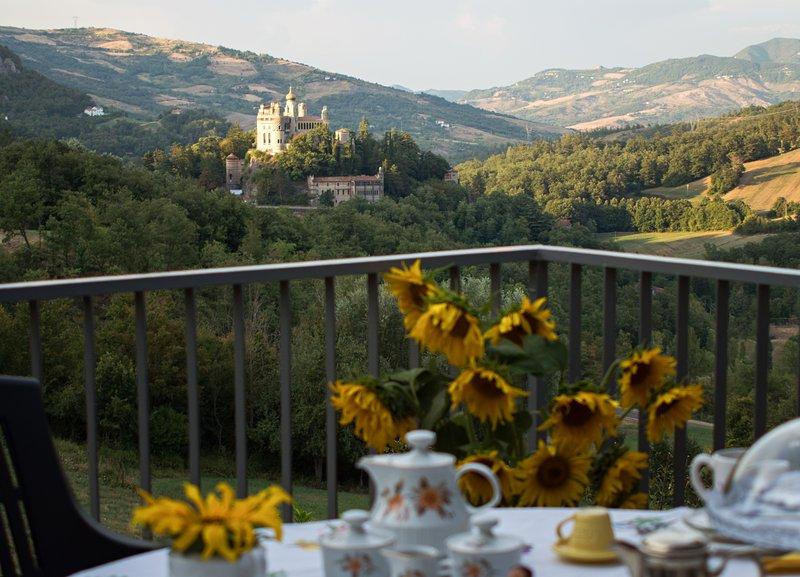 Living terrace overlooking the Castle Rocchetta Mattei