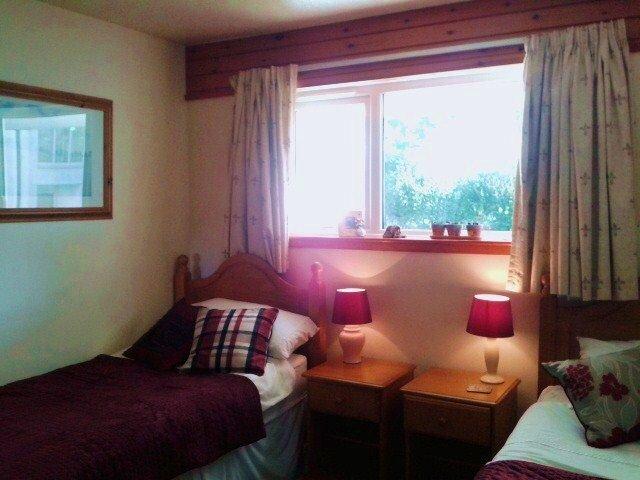 Zweibettzimmer, öffnendes Fenster, sehr attraktiv Burgunder und cremefarbenes Dekor mit Monet großen Abzügen. Heizung.