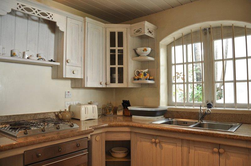 in granito piena piano cottura della cucina e forno, tostapane doppio lavello scolapiatti